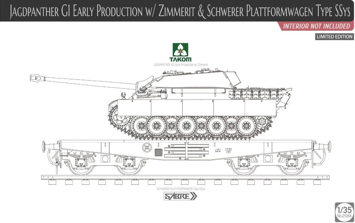 TKM2125X - Takom 1/35 Jagpanther G1 Early w/Zimmerit & Platformwagen SSys [Ltd.Ed.]