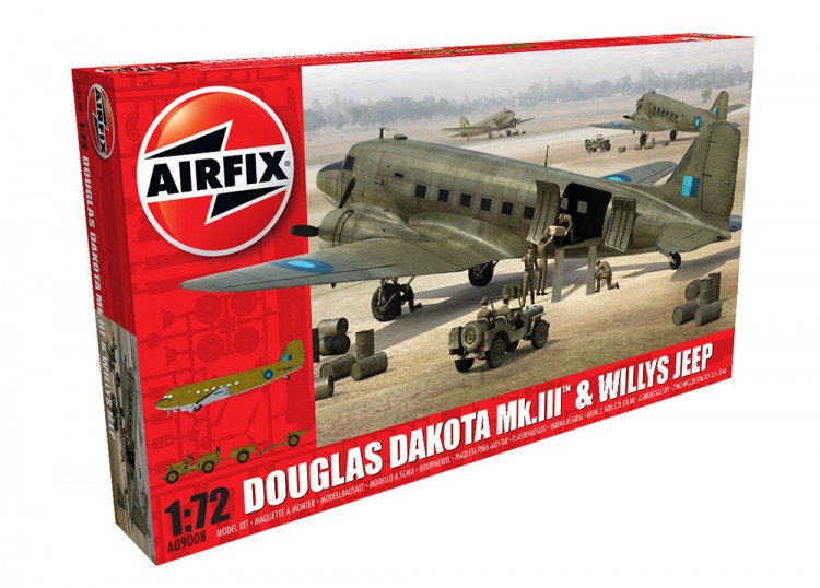 AIR09008 - Airfix 1/72 Dakota Mk.III w/Jeep NEW TOOL 2016