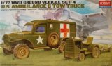 ACA13403 - Academy 1/72 U.S. Ambulance & Tow Truck - WWII Ground Vehicle Set-4