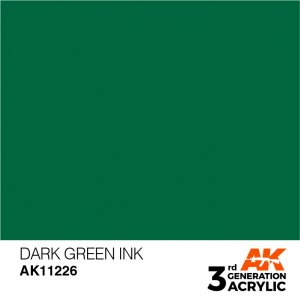 AKI11226 - AK Interactive Dark Green Ink - 17mL Bottle - Acrylic / Water Based