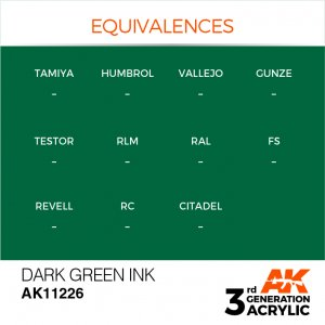 AKI11226 - AK Interactive Dark Green Ink - 17mL Bottle - Acrylic / Water Based - Flat