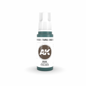 AKI11220 - AK Interactive Turquoise Ink - 17mL Bottle - Acrylic / Water Based