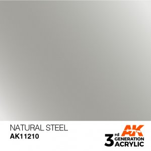AKI11210 - AK Interactive Natural Steel - 17mL Bottle - Acrylic / Water Based - Flat