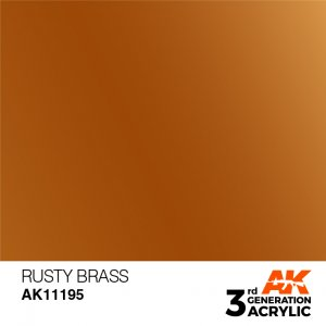 AKI11195 - AK Interactive Rusty Brass - 17mL Bottle - Acrylic / Water Based