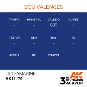 AKI11179 - AK Interactive Ultramarine - 17mL Bottle - Acrylic / Water Based