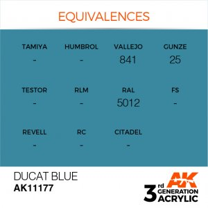 AKI11177 - AK Interactive Ducat Blue - 17mL Bottle - Acrylic / Water Based - Flat