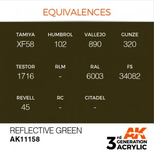 AKI11158 - AK Interactive Reflective Green - 17mL Bottle - Acrylic / Water Based