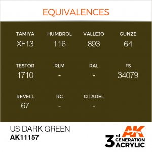 AKI11157 - AK Interactive US Dark Green - 17mL Bottle - Acrylic / Water Based - Flat