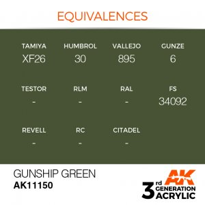 AKI11150 - AK Interactive Gunship Green - 17mL Bottle - Acrylic / Water Based