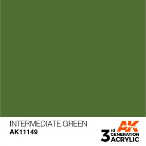 AKI11149 - AK Interactive Intermediate Green - 17mL Bottle - Acrylic / Water Based