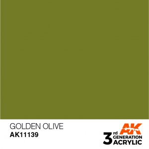 AKI11139 - AK Interactive Golden Olive - 17mL Bottle - Acrylic / Water Based