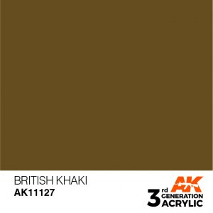 AKI11127 - AK Interactive British Khaki - 17mL Bottle - Acrylic / Water Based