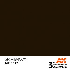 AKI11112 - AK Interactive Grim Brown - 17mL Bottle - Acrylic / Water Based - Flat