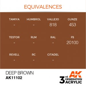 AKI11102 - AK Interactive Deep Brown - 17mL Bottle - Acrylic / Water Based