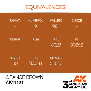 AKI11101 - AK Interactive Orange Brown - 17mL Bottle - Acrylic / Water Based