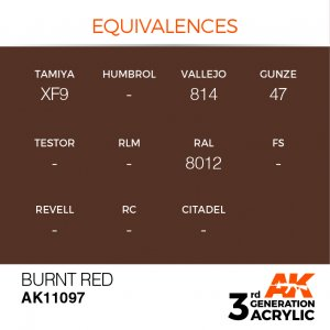 AKI11097 - AK Interactive Burnt Red - 17mL Bottle - Acrylic / Water Based - Flat