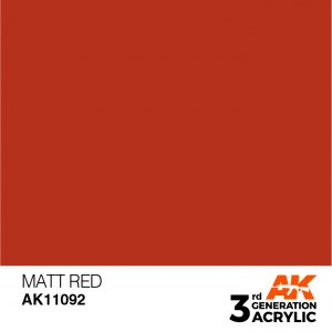 AKI11092 - AK Interactive Matt Red - 17mL Bottle - Acrylic / Water Based - Flat