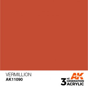 AKI11090 - AK Interactive Vermillion - 17mL Bottle - Acrylic / Water Based - Flat