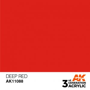 AKI11088 - AK Interactive Deep Red - 17mL Bottle - Acrylic / Water Based