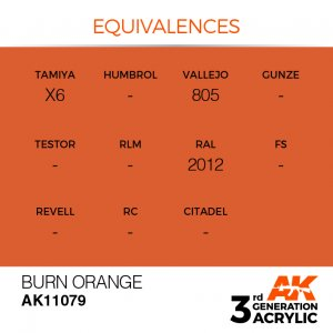 AKI11079 - AK Interactive Burn Orange - 17mL Bottle - Acrylic / Water Based