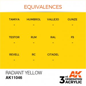AKI11046 - AK Interactive Radiant Yellow - 17mL Bottle - Acrylic / Water Based