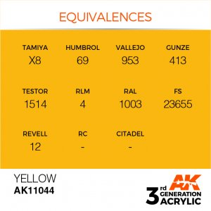 AKI11044 - AK Interactive Yellow - 17mL Bottle - Acrylic / Water Based - Flat