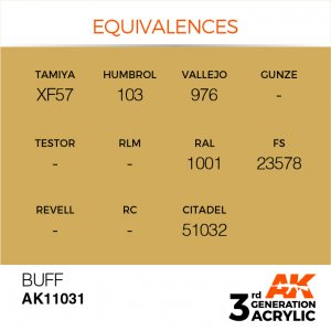 AKI11031 - AK Interactive Buff - 17mL Bottle - Acrylic / Water Based - Flat