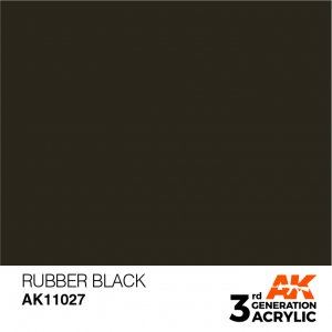 AKI11027 - AK Interactive Rubber Black - 17mL Bottle - Acrylic / Water Based - Flat