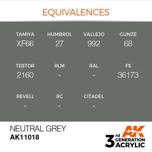 AKI11018 - AK Interactive Neutral Grey - 17mL Bottle - Acrylic / Water Based - Flat