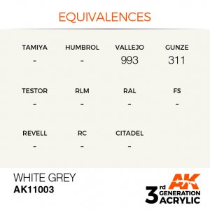 AKI11003 - AK Interactive White Grey - 17mL Bottle - Acrylic / Water Based