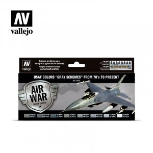 "VLJ71156 - Vallejo Type - Air War Sets: USAF colors ""Grey Schemes"" from 70's to present (8 pieces) - Acrylic / Water Based"