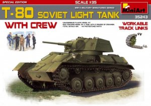 MIA35243 - Miniart 1/35 T-80 Soviet Light Tank w/Crew - Special Edition