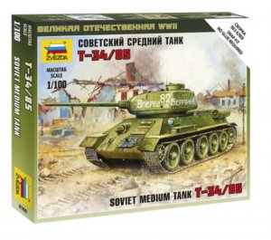 ZVE6160 - Zvezda 1/100 T-34/85 - Soviet Medium Tank - Snap Fit