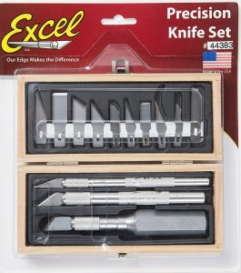 EXC44383 - Excel Precision Knife Set - K1, K2 and K5 Handles w/ 3 Assorted blades in Wooden Chest