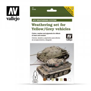 VLJ78405 - Vallejo Type - AFV Sets: Weathering for Yellow/Grey vehicles - 7 Pieces - Acrylic / Water Based