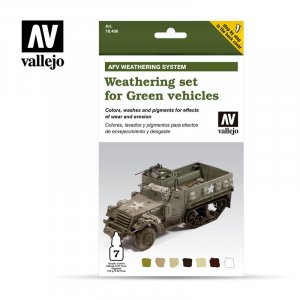 VLJ78406 - Vallejo Type - AFV Sets: Weathering for Green Vehicles - 7 Pieces - Acrylic / Water Based