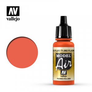 VLJ71082 - Vallejo Type - Model Air: Fluorescent Red  - 17mL Bottle - Acrylic / Water Based