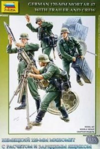 ZVE3583 - Zvezda 1/35 German 120-mm Mortar 42 with Trailer and Crew