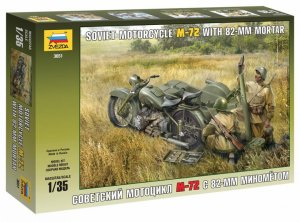 ZVE3651 - Zvezda 1/35 M-72 with 82 mm Mortar - Soviet Motorcycle