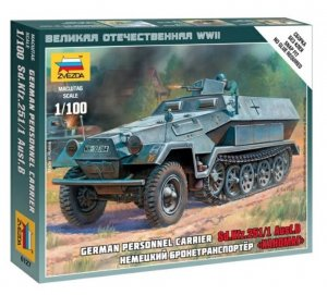 ZVE6127 - Zvezda 1/100 Sd.Kfz 251/1 Ausf.B German Personnel Carrier - Snap-Fit