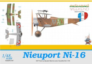 EDU8426 - Eduard Models 1/48 Nieuport Ni-16 (N977 flown by Adjudant Maxime Lenoir, Escadrille N23, 1916) [Weekend Edition]