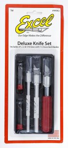 EXC44082 - Excel Deluxe Knife Set - K1, K2 and K5 Handles with 13 Assorted Blades